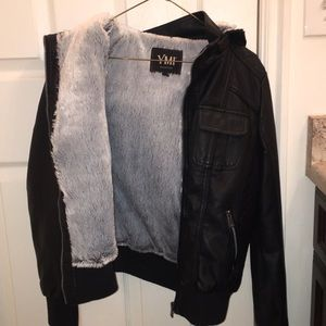 Black leather faux fur jacket